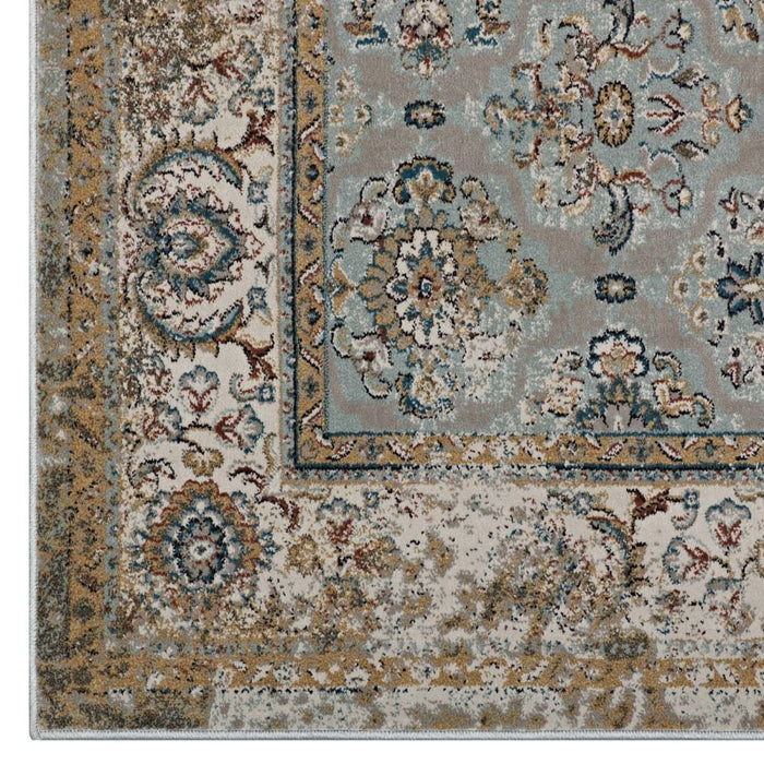 HISA DISTRESSED VINTAGE FLORAL LATTICE 8X10 AREA RUG
