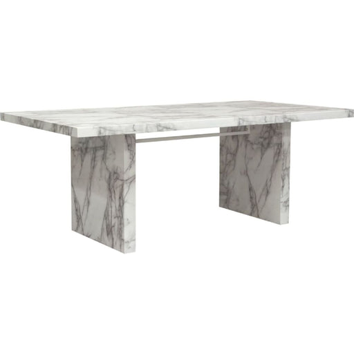 Icon Dining Table in White and Grey Faux Carrera Marble