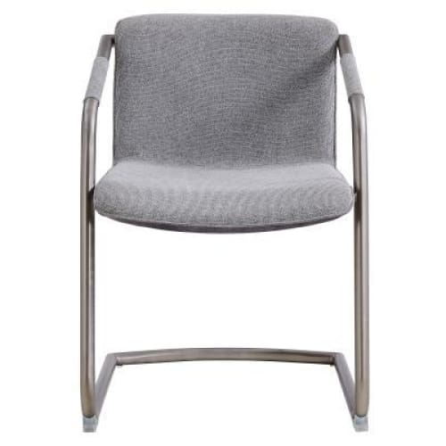 Indy Fabric Side Chair Silver Frame Sage Gray and Velvet Set of 2