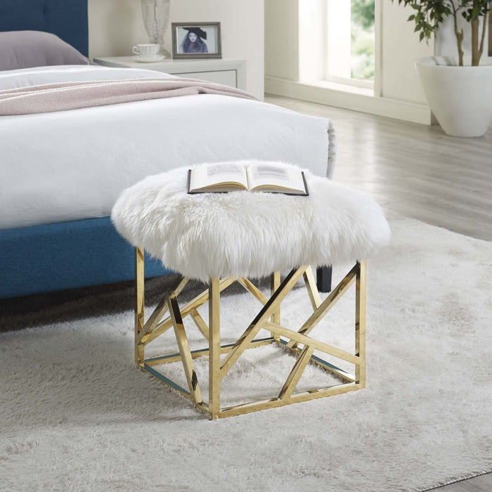 INTERSPERSE SHEEPSKIN OTTOMAN