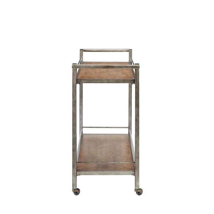 Jamie Pine Veneer Silver Metal Bar Cart