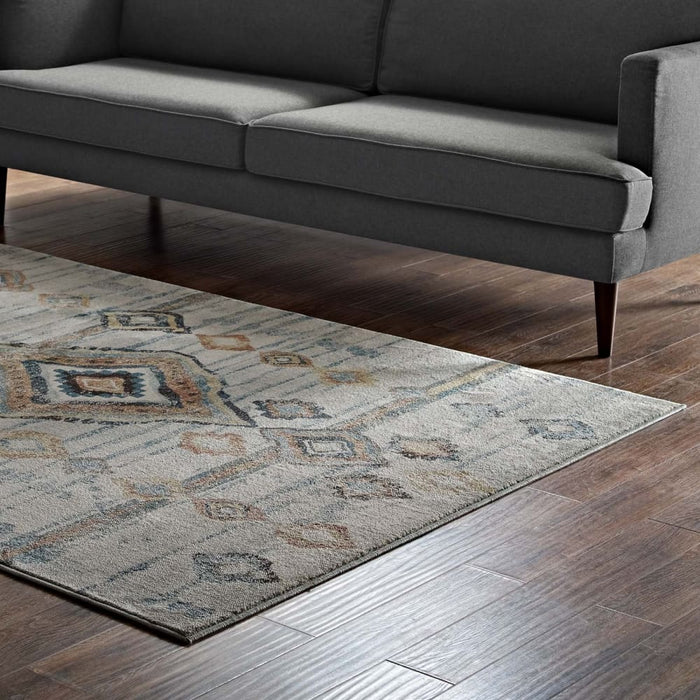 JENICA DISTRESSED MOROCCAN TRIBAL ABSTRACT DIAMOND 5X8 AREA RUG