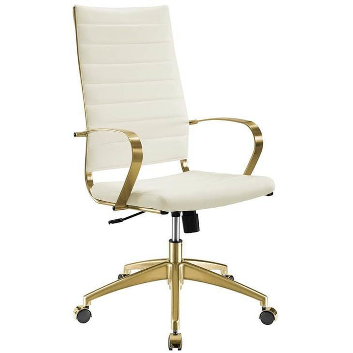 JIVE HIGHBACK OFFICE CHAIR WHITE AND GOLD
