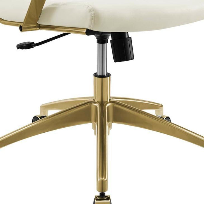 JIVE MID BACK OFFICE CHAIR WHITE AND GOLD