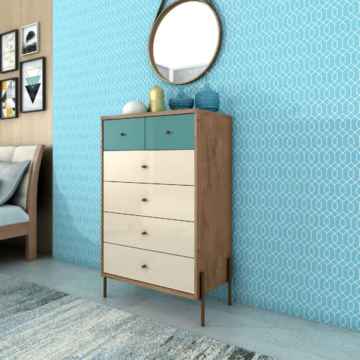 JOI 48 Tall Chest 6 Drawers Blue Off White Oak