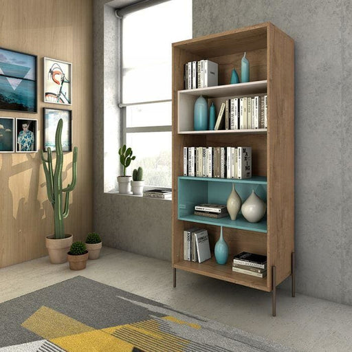 Joi 5-Shelf Bookcase Blue and Off White