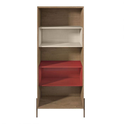 Joi 5-Shelf Bookcase Red and Off White