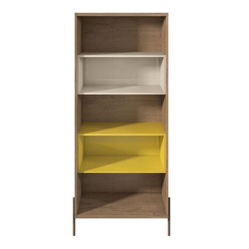 Joi 5-Shelf Bookcase Yellow and Off White