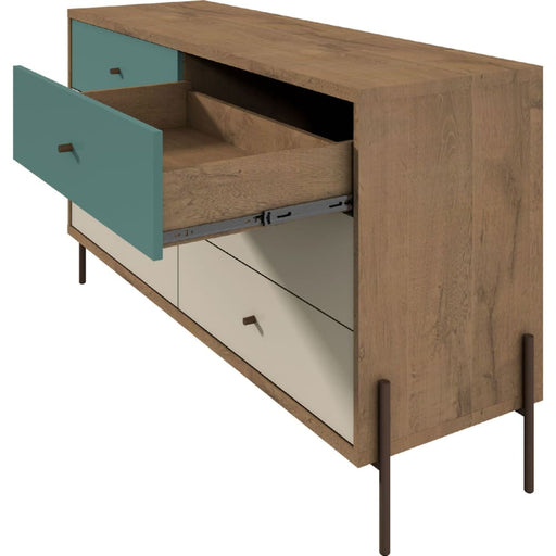 JOI 59 Double Dresser 6 Drawers Blue Off White Oak