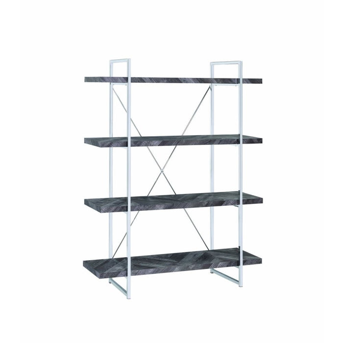 Katia 4 Shelf Bookcase With X Back Support Grey and Silver