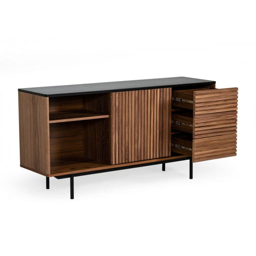 Kyle Mid-Century Modern Walnut and Grey Buffet