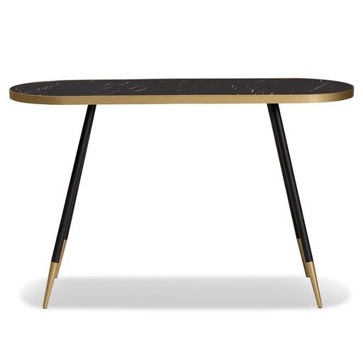 Laurel Console Table Black Faux Marble Gold and