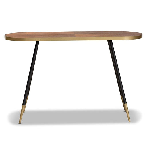 Laurel Console Table Walnut Wood Gold and Black