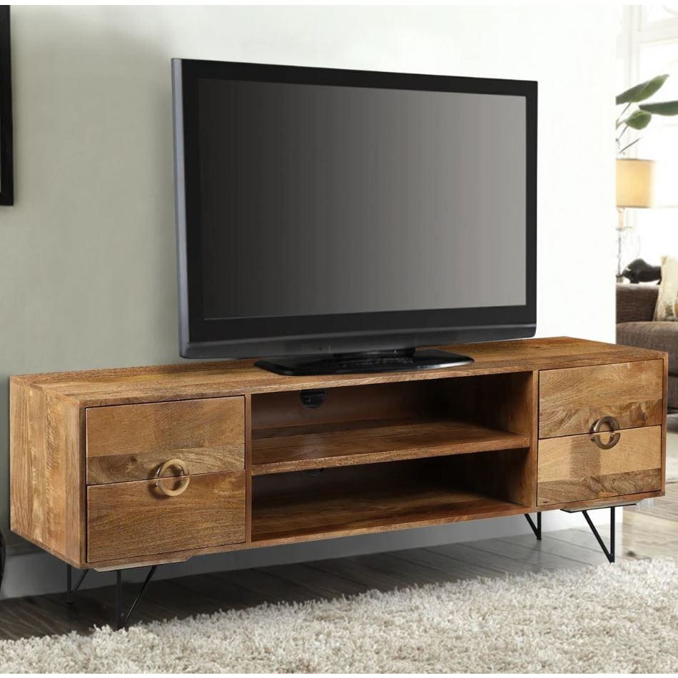 Leslie 63 Inch Mango Wood TV Cabinet