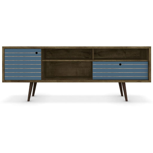 Libby Mid Century TV Stand Line Brown Aqua 71