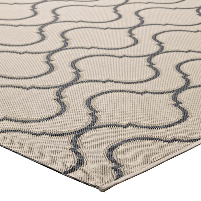LINZA WAVE ABSTRACT TRELLIS 5X8 INDOOR AND OUTDOOR AREA RUG