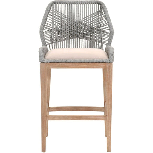 Loom Bar Stool Platinum Rope Grey Fabric