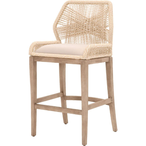 Loom Bar Stool Sand Rope Grey Fabric Wood Legs