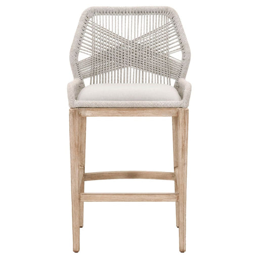 Loom Bar Stool Taupe & White Rope