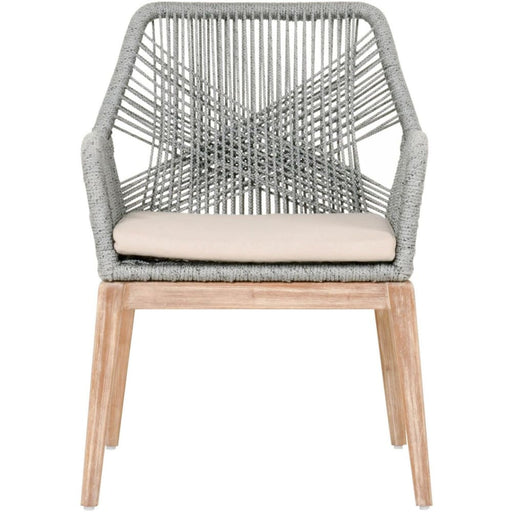 Loom Dining Chair Platinum Rope Grey Fabric Set of Two