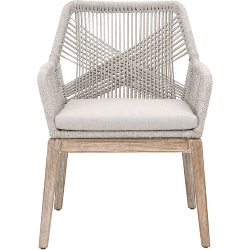 Loom Dining Chair Taupe & White Rope Grey Fabric Set of Two