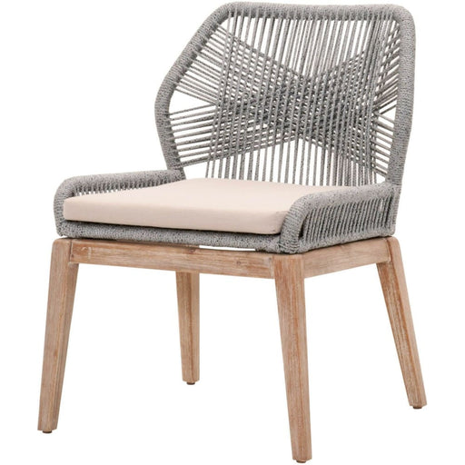 Loom Side Chair Platinum Rope Grey Fabric Set of Two