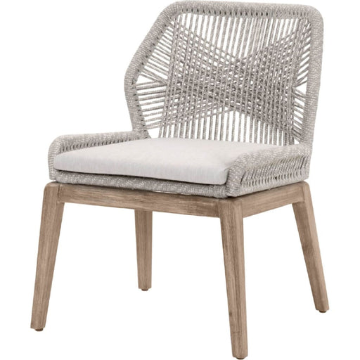 Loom Side Chair Taupe & White Rope Grey Fabric Set of Two