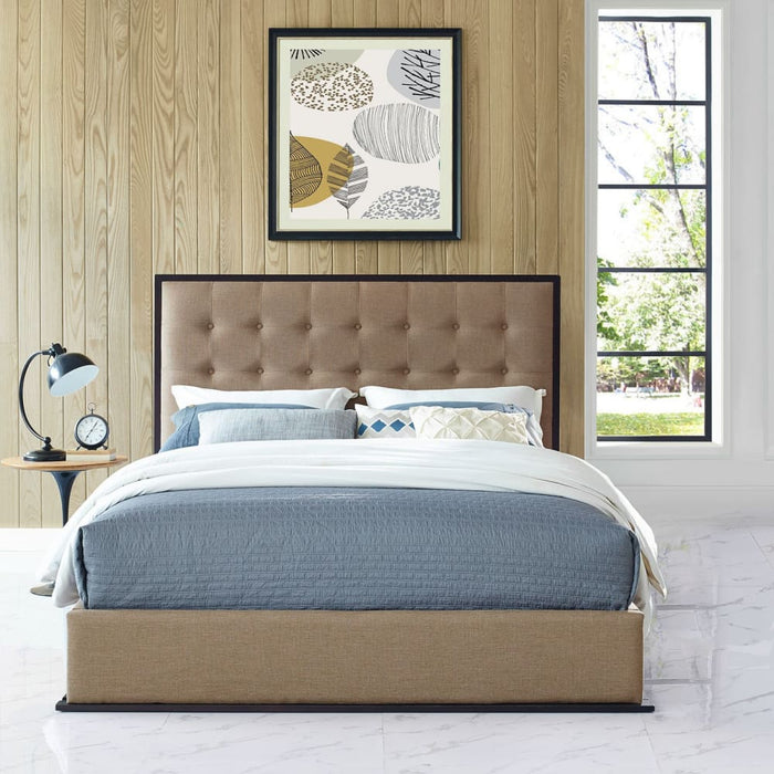 MADELINE QUEEN UPHOLSTERED FABRIC BED FRAME