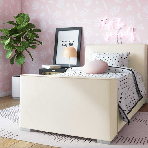 Madison Cream Velvet Bed in Twin