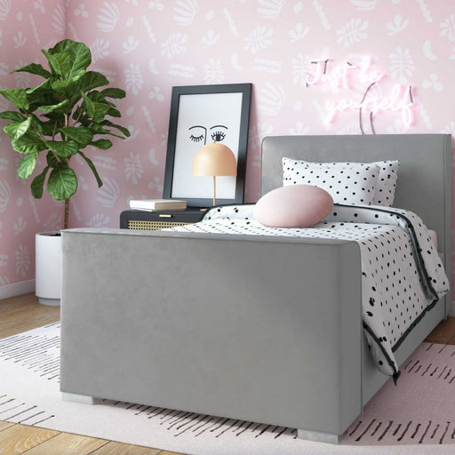 Madison Grey Velvet Bed in Twin