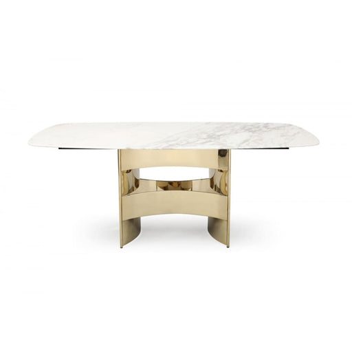 Marmot White Marble and Champagne Gold Dining Table