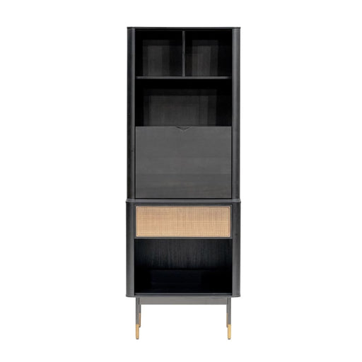 Maxwell 24 Cabinet in Black with Natural Wicker