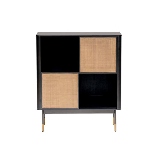 Maxwell 33 Cabinet in Black with Natural Wicker