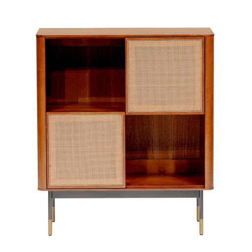 Maxwell 33 Cabinet in Brown with Natural Wicker