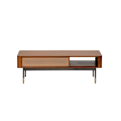 Maxwell 47 Coffee Table in Brown with Natural Wicker