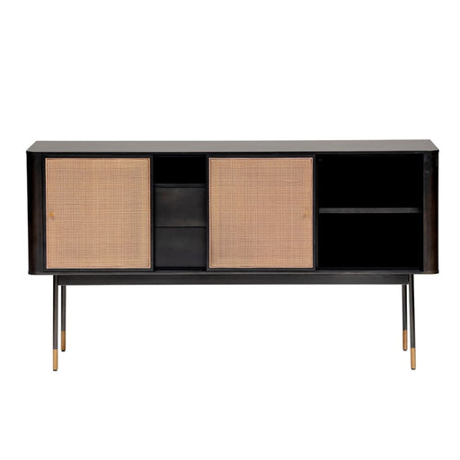 Maxwell 59 Sideboard in Black with Natural Wicker