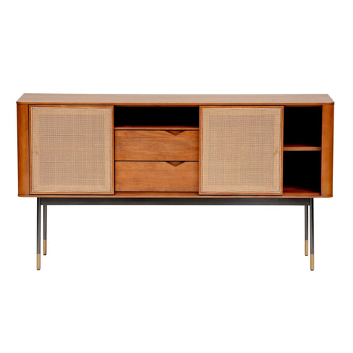 Maxwell 59 Sideboard in Brown with Natural Wicker
