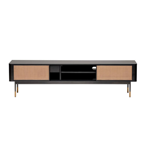 Maxwell 71 Media Stand in Black with Natural Wicker