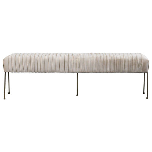 Merritt Velvet Fabric Pleated Bench-Beige