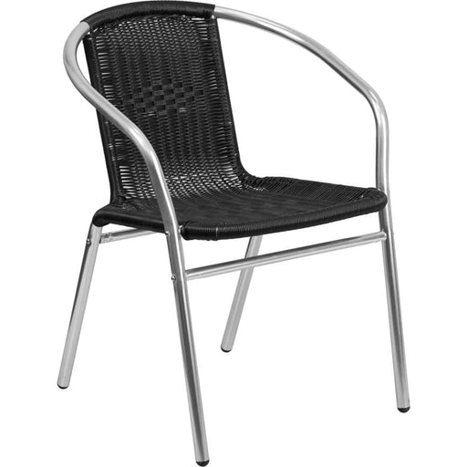 Mezzo Aluminum and Rattan Indoor-Outdoor Stack Chair Black