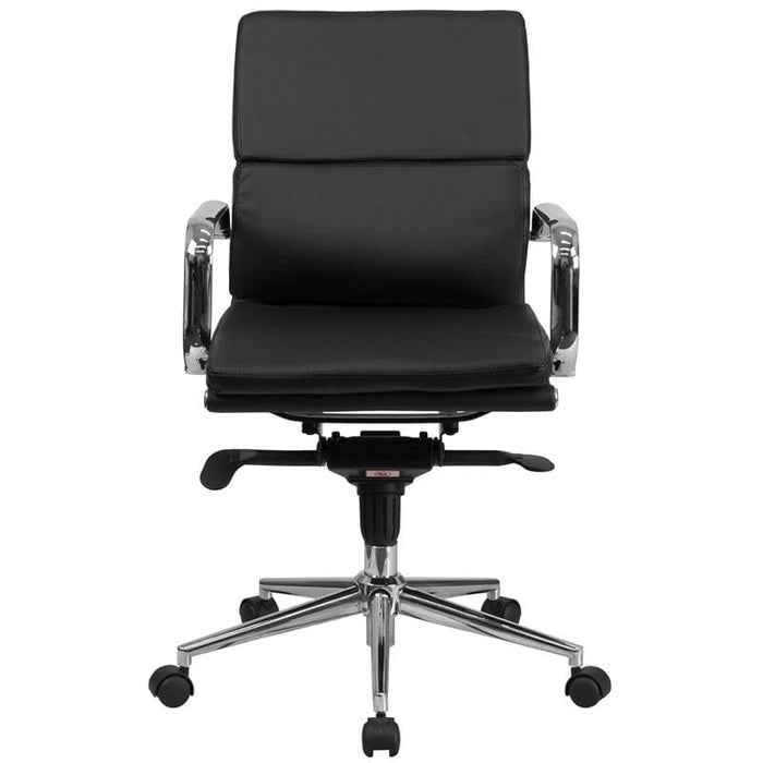 Mid-Back Black LeatherSoft Executive Swivel Office Chair