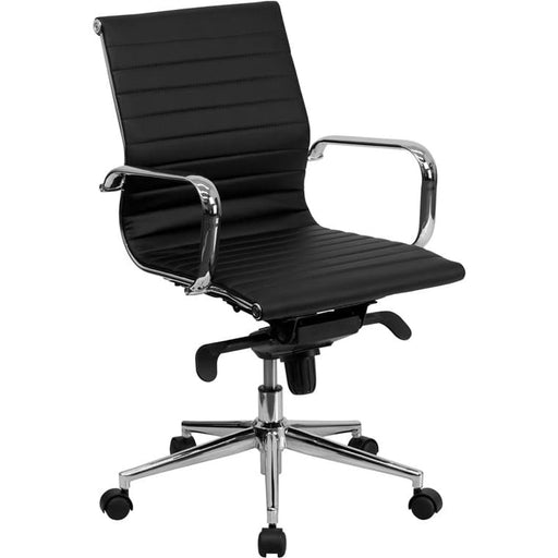 Mid-Back Black Ribbed LeatherSoft Swivel Conference Office Chair