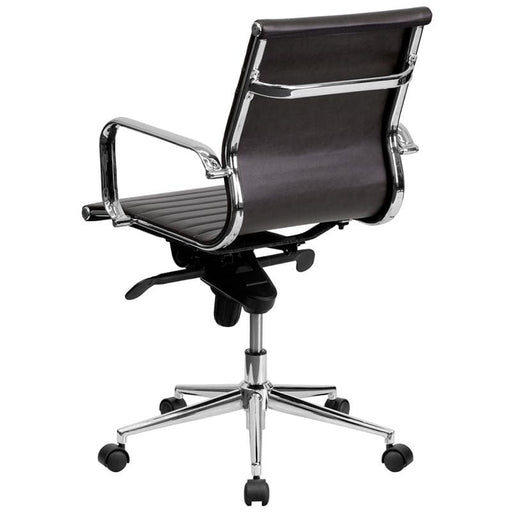 Mid-Back Brown Ribbed LeatherSoft Swivel Conference Office Chair