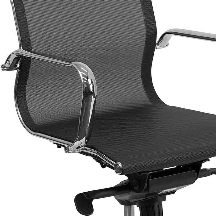 Mid-Back Transparent Black Mesh Swivel Office Chair