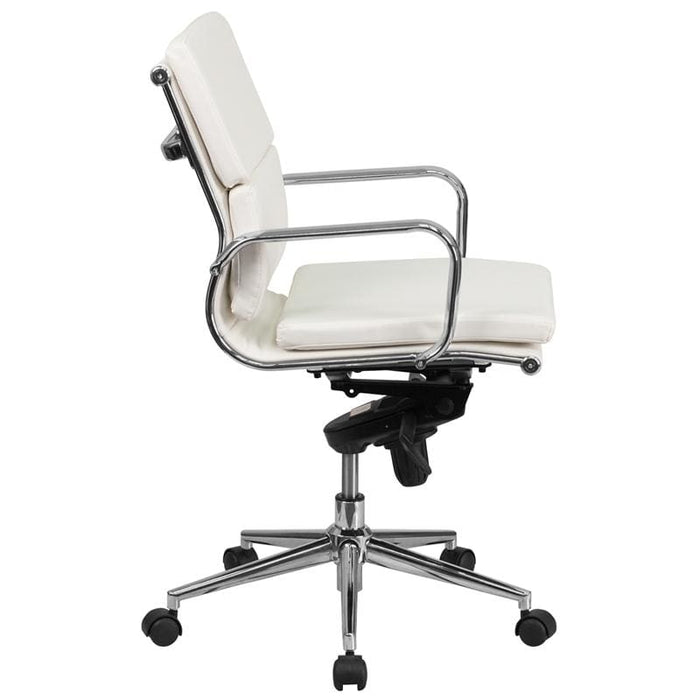 Mid-Back White LeatherSoft Executive Swivel Office Chair
