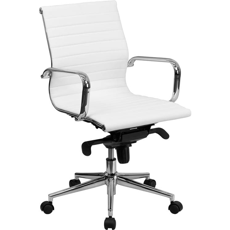 Mid-Back White Ribbed LeatherSoft Swivel Conference Office Chair
