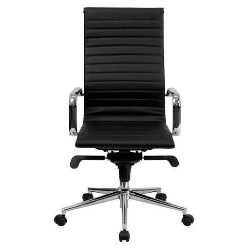 Mid-Century Ribbed Office Chair Chrome High Back Black LeatherSoft