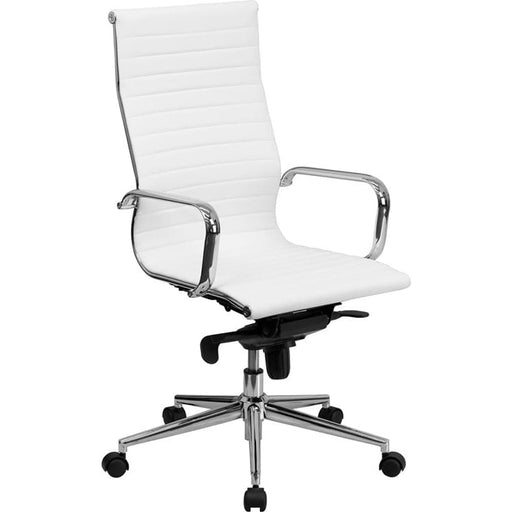 Mid-Century Ribbed Office Chair Chrome High Back White LeatherSoft