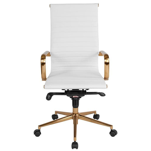 Mid-Century Ribbed Office Chair Gold High Back White LeatherSoft