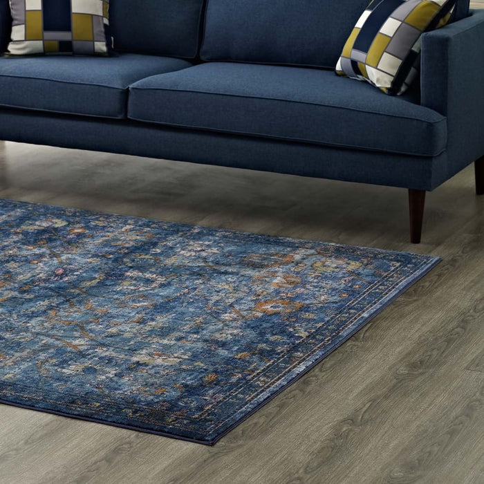MINU DISTRESSED FLORAL LATTICE 5X8 AREA RUG